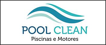Imagem retangular com fundo branco contendo o logotipo da empresa Pool Clean Piscinas e Motores